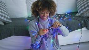 Πρότυπο χαμόγελου με τα φω'τα Χριστουγέννων απόθεμα βίντεο