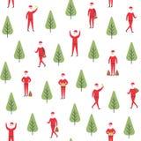 πρότυπο Χριστουγέννων άνευ ραφής Διανυσματική απεικόνιση Άγιου Βασίλη και δέντρων Στοκ εικόνα με δικαίωμα ελεύθερης χρήσης