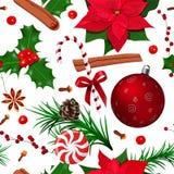 πρότυπο Χριστουγέννων άνε&ups Η Holly, Poinsettia, κώνος, γλυκάνισο αστεριών, κανέλα, κάλαμος καραμελών, γαρίφαλα, έλατο διακλαδί απεικόνιση αποθεμάτων