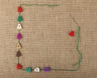 Πρότυπο Χριστουγέννων των κουμπιών τεχνών πέρα από τον καμβά Στοκ φωτογραφία με δικαίωμα ελεύθερης χρήσης