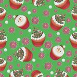 πρότυπο Χριστουγεννιάτικο δέντρο και χιονάνθρωπος Cupcakes Στοκ Εικόνες
