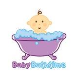 Πρότυπο χρονικών λογότυπων λουτρών μωρών, λογότυπο λουσίματος μωρών, ντους μωρών Στοκ Φωτογραφία