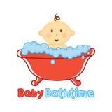 Πρότυπο χρονικών λογότυπων λουτρών μωρών, λογότυπο λουσίματος μωρών, ντους μωρών Στοκ Εικόνες