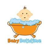 Πρότυπο χρονικών λογότυπων λουτρών μωρών, λογότυπο λουσίματος μωρών, ντους μωρών Στοκ φωτογραφίες με δικαίωμα ελεύθερης χρήσης