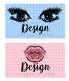 Πρότυπο δύο επαγγελματικών καρτών για το σαλόνι ομορφιάς, τη σύνθεση ή τις καλλυντικές επιχειρήσεις Στοκ φωτογραφία με δικαίωμα ελεύθερης χρήσης