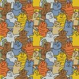πρότυπο διασκέδασης χρώματος γατών άνευ ραφής Στοκ Εικόνες