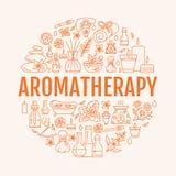Πρότυπο Aromatherapy και κύκλων ουσιαστικών πετρελαίων Διανυσματική απεικόνιση γραμμών του aromatherapy διασκορπιστή, πετρελαιοκα Στοκ εικόνα με δικαίωμα ελεύθερης χρήσης