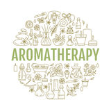 Πρότυπο Aromatherapy και φυλλάδιων ουσιαστικών πετρελαίων Στοκ εικόνα με δικαίωμα ελεύθερης χρήσης