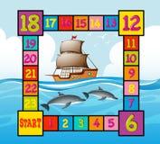 Πρότυπο Boardgame με την ωκεάνια σκηνή ελεύθερη απεικόνιση δικαιώματος