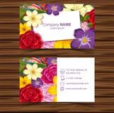Πρότυπο Businesscard με τα ζωηρόχρωμα λουλούδια διανυσματική απεικόνιση