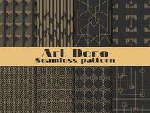 πρότυπο deco τέχνης άνευ ραφής Καθορισμένα αναδρομικά υπόβαθρα, χρυσό και μαύρο χρώμα Ύφος 1920 ` s, 1930 ` s Γραμμές και γεωμετρ Στοκ Εικόνα