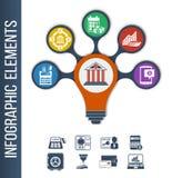 Πρότυπο Infographic για τη διαφορετικές τράπεζα & τις χρηματοπιστωτικές υπηρεσίες Στοκ εικόνα με δικαίωμα ελεύθερης χρήσης