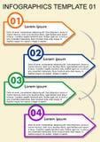 Πρότυπο Infographic, διαδικασία σε τέσσερα βήματα Vizualization με τους αριθμούς, εικονίδια, διάστημα αντιγράφων στα πολύχρωμα στ Στοκ Εικόνες