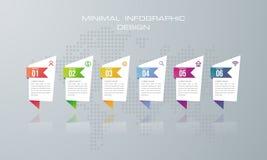 Πρότυπο Infographic με 6 επιλογές, επιλογή εμβλημάτων για infographic ελεύθερη απεικόνιση δικαιώματος