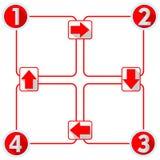 Πρότυπο Infographic με τέσσερα στοιχεία για τη φωτογραφική διαφάνεια παρουσίασης με τους αριθμούς και arows Στοκ Φωτογραφίες