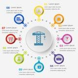 Πρότυπο Infographic με τα εικονίδια κατασκευής Στοκ φωτογραφία με δικαίωμα ελεύθερης χρήσης