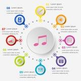Πρότυπο Infographic με τα εικονίδια μουσικής Στοκ Εικόνα