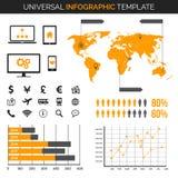 Πρότυπο Infographic με το χάρτη, τα διαγράμματα και τα εικονίδια - ταξίδι, δημογραφία και πολύ περισσότερο Στοκ Εικόνες