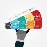 Πρότυπο Infographic με megaphone το έμβλημα τορνευτικών πριονιών. έννοια Στοκ Εικόνες