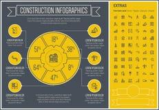 Πρότυπο Infographic σχεδίου γραμμών κατασκευής Στοκ φωτογραφία με δικαίωμα ελεύθερης χρήσης
