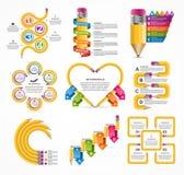 Πρότυπο Infographics εκπαίδευσης συλλογής Infographics για το έμβλημα επιχειρησιακών παρουσιάσεων ή πληροφοριών ελεύθερη απεικόνιση δικαιώματος