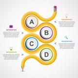 Πρότυπο infographics εκπαίδευσης με το κυρτό μολύβι διάνυσμα εικόνας απεικόνισης στοιχείων σχεδίου Στοκ φωτογραφία με δικαίωμα ελεύθερης χρήσης