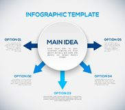 Πρότυπο Infographics με τα βέλη και τον τρισδιάστατο κύκλο. ελεύθερη απεικόνιση δικαιώματος