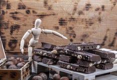 Πρότυπο presentig μια παραγωγή και μια συσκευασία μια σοκολάτα στοκ φωτογραφία