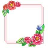 Πρότυπο watercolor άνοιξη με τα χρωματισμένα φύλλα και τα λουλούδια ελεύθερη απεικόνιση δικαιώματος