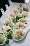 Πρόχειρα φαγητά κοκτέιλ γαρίδων Στοκ φωτογραφίες με δικαίωμα ελεύθερης χρήσης