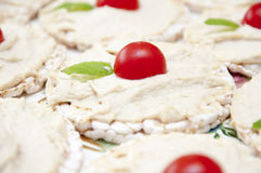 Πρόχειρα φαγητά ρυζιού με το hummus, τις ντομάτες και τη μέντα Στοκ εικόνα με δικαίωμα ελεύθερης χρήσης