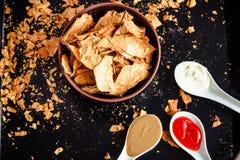 Πρόχειρο φαγητό για ένα κόμμα, υγιή τσιπ με tortilla, nachos με το sa Στοκ φωτογραφίες με δικαίωμα ελεύθερης χρήσης
