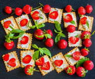Πρόχειρο φαγητό: κροτίδες με το τυρί κρέμας, τις φρέσκα φράουλες και τα φύλλα μεντών στο μαύρο μεταλλικό υπόβαθρο, τοπ άποψη Στοκ φωτογραφία με δικαίωμα ελεύθερης χρήσης