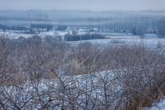 Πρώιμος χειμώνας, κρύο misty πρωί Στοκ φωτογραφία με δικαίωμα ελεύθερης χρήσης