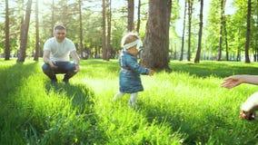 Πρώτα βήματα του περπατήματος κοριτσιών μικρών παιδιών από τον πατέρα στη μητέρα στη χλόη στο ηλιόλουστο πάρκο φιλμ μικρού μήκους