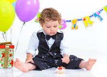 Πρώτα γενέθλια μωρών ένα έτος. Στοκ εικόνες με δικαίωμα ελεύθερης χρήσης