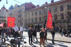 Πρώτα μπορέστε εορτασμοί στο Γκέτεμπουργκ, Σουηδία, κοινωνικοί δημοκράτες, πλήθη, πολιτική συλλογή στοκ φωτογραφίες