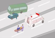 Πρώτες βοήθειες στο τροχαίο ατύχημα Στοκ Εικόνες