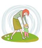 Πρώτη διανυσματική τέχνη συνδετήρων απεικόνισης μητέρων βημάτων μωρών διανυσματική απεικόνιση