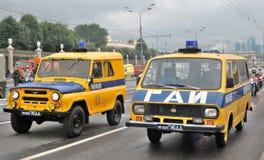 Πρώτη παρέλαση της Μόσχας της μεταφοράς πόλεων Αναδρομικά περιπολικά της Αστυνομίας Στοκ φωτογραφία με δικαίωμα ελεύθερης χρήσης