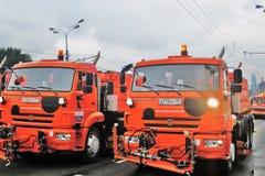 Πρώτη παρέλαση της Μόσχας της μεταφοράς πόλεων Απορρίματα και καθαρίζοντας φορτηγά Στοκ Φωτογραφίες