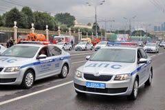 Πρώτη παρέλαση της Μόσχας της μεταφοράς πόλεων Περιπολικά της Αστυνομίας Στοκ Φωτογραφία