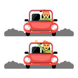 Πρώτη φορά γυναικών πίσω από τη ρόδα του κόκκινου αυτοκινήτου απεικόνιση αποθεμάτων