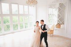 Πρώτος γάμος danc χοροί γαμήλιων ζευγών στο στούντιο ευτυχής εκλεκτής ποιότητας γάμος ημέρας ζευγών ιματισμού Ευτυχείς νέοι νύφη  Στοκ φωτογραφία με δικαίωμα ελεύθερης χρήσης