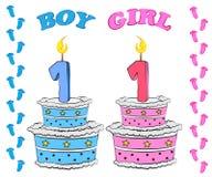 Πρώτο κέικ γενεθλίων για το αγόρι και το κορίτσι διανυσματική απεικόνιση