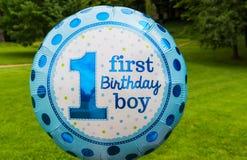 Πρώτο κείμενο αγοριών γενεθλίων ballon Στοκ εικόνες με δικαίωμα ελεύθερης χρήσης