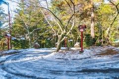 πρώτο οδικό χιόνι βουνών Στοκ εικόνες με δικαίωμα ελεύθερης χρήσης