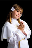 Πρώτο πορτρέτο κοινωνίας του νέου κοριτσιού Στοκ Εικόνα