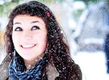 πρώτο χιόνι χαράς Στοκ εικόνα με δικαίωμα ελεύθερης χρήσης