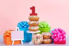 Πρώτο doughnut γενεθλίων κόμμα Στοκ εικόνα με δικαίωμα ελεύθερης χρήσης
